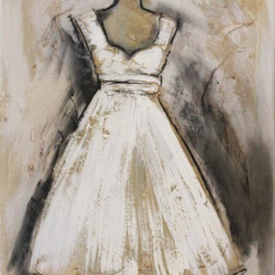Leon De Klerk short wedding dress on a stand