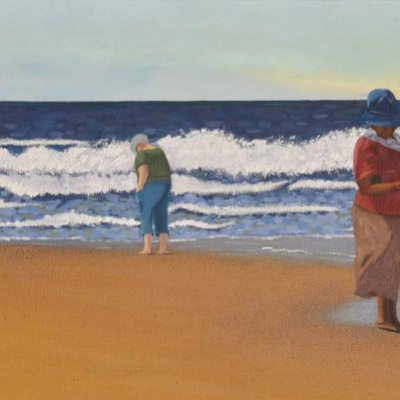 painting of people walking on a beach