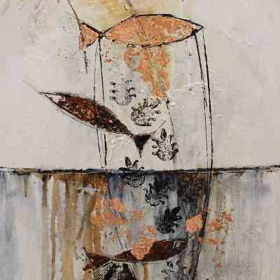 bronze and brown abstract painting with fish