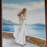 Painting of a woman in a white dress with the sea in the background