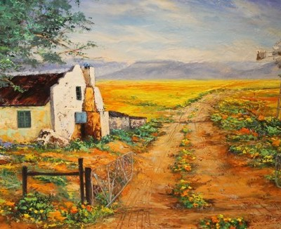 painting of typical farm scene