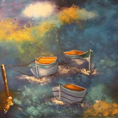 Painting of three docked boats