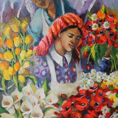 Painting of women selling flowers