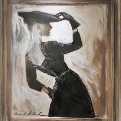 framed painting of woman wearing black dress and hat