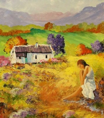 painting of farm scene with lady sitting on a rock
