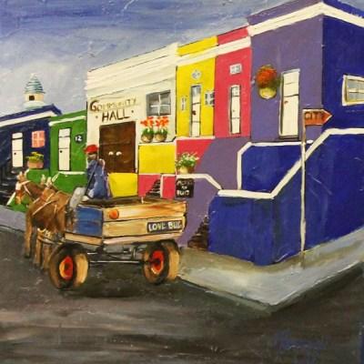 painting of Bo-Kaap scene with horsecart