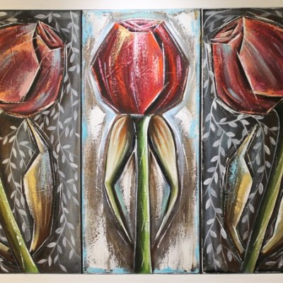 abstract painting of 3 red roses