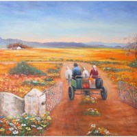 Painting of people on a horse cart riding through a farm gate