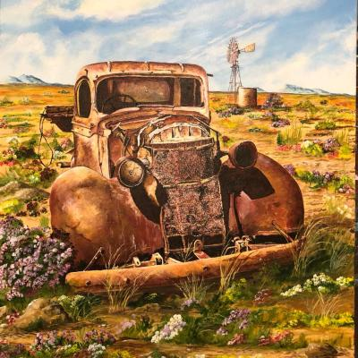 painting of old rusty car in a farm field