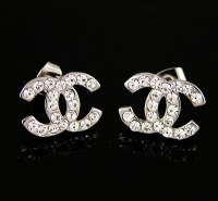 Chanel Diamond Classic CC Logo Stud Earring Silver