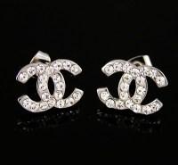 Chanel Diamond Classic CC Logo Stud Earring Silver ...