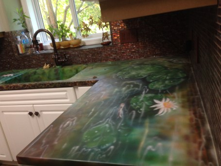 Beautiful airbrushed Lily countertops in kitchen