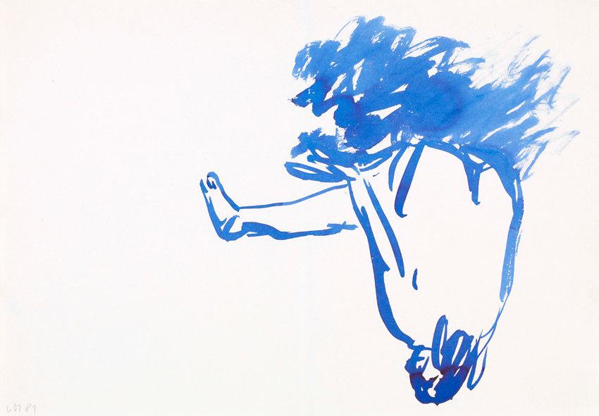 Georg Baselitz, Studien zu den Strandbildern (38 Stück), 1981, schwarze Kreide, Bleistift und blaue Tusche auf Papier, je 29,5 x 42 cm, jeweils monogrammiert und datiert (,968/17 nur datiert), sowie rückseitig nummeriert ,968/1 bis ,968/39 (,968/18 fehlt, da von Baselitz ausgeschieden)