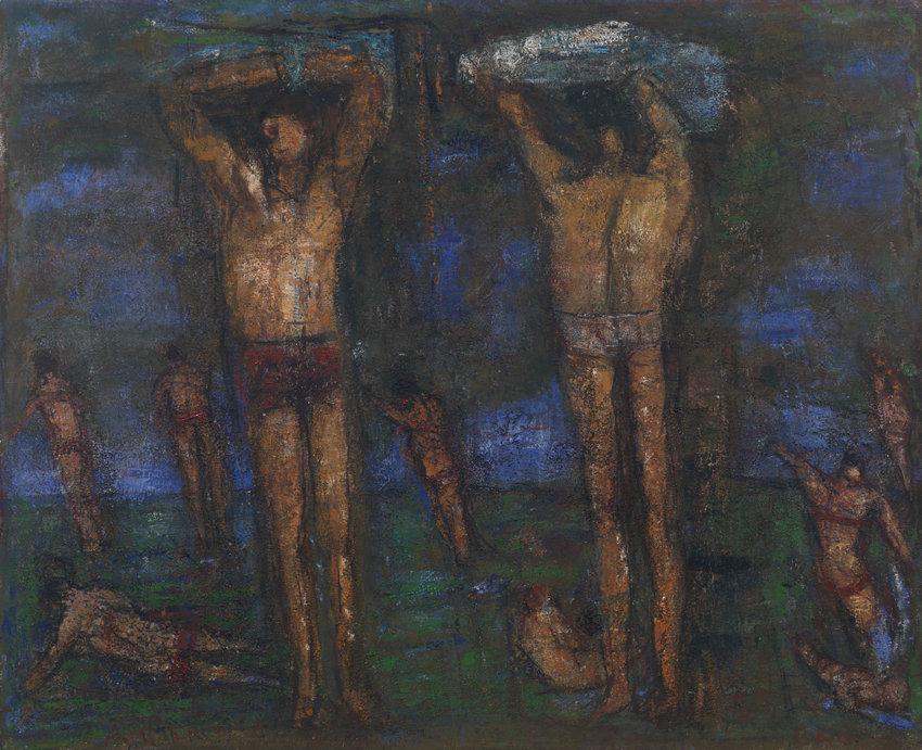 Rudi Tröger, Ohne Titel (Badebild), 1992, Acryl auf Leinwand, 111 x 136 cm