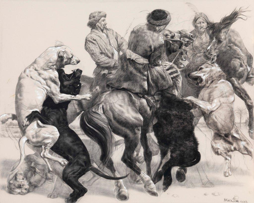 David Nicholson, Afghan Dog Fight, 2013, Kreide und Perlweiß auf Leinwand, 244 x 304 cm
