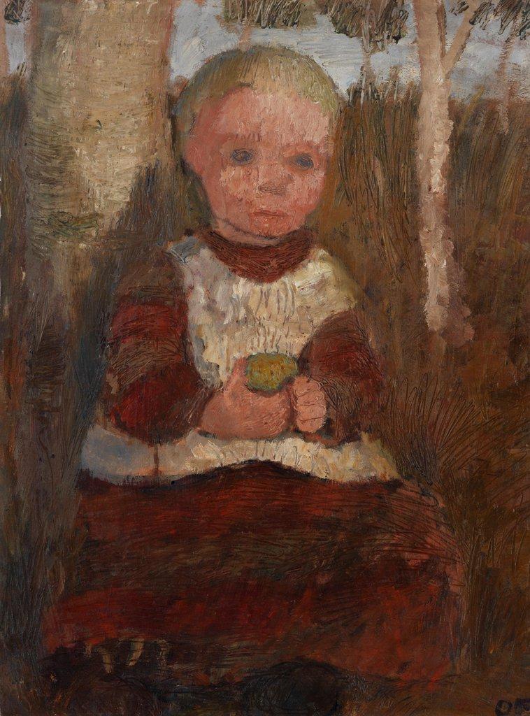 Paula Modersohn-Becker, Sitzendes Kind an einer Birke (Kind mit Frucht), verso: Bauernmädchen am Hang vor wolkigem Himmel (1903), 1905, Öl auf Karton, 64,4 x 47,5 cm