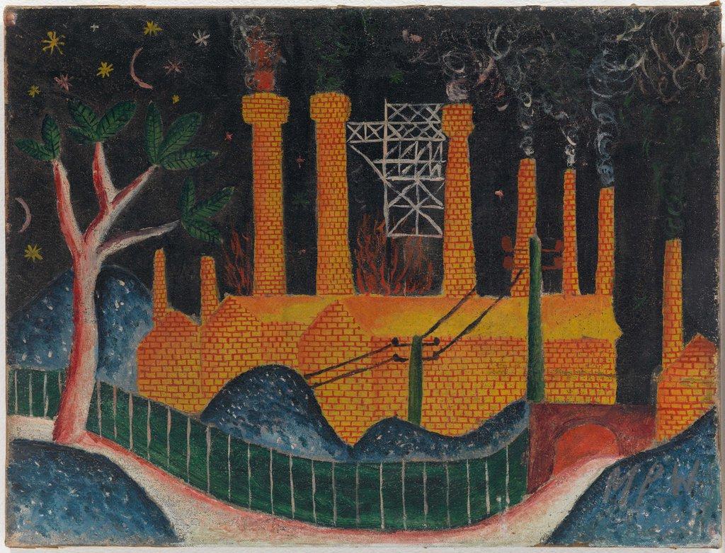 Max Peiffer Watenphul, Fabriklandschaft mit rauchenden Schloten, 1919, Öl auf Leinwand, 37,5 x 49,5 cm