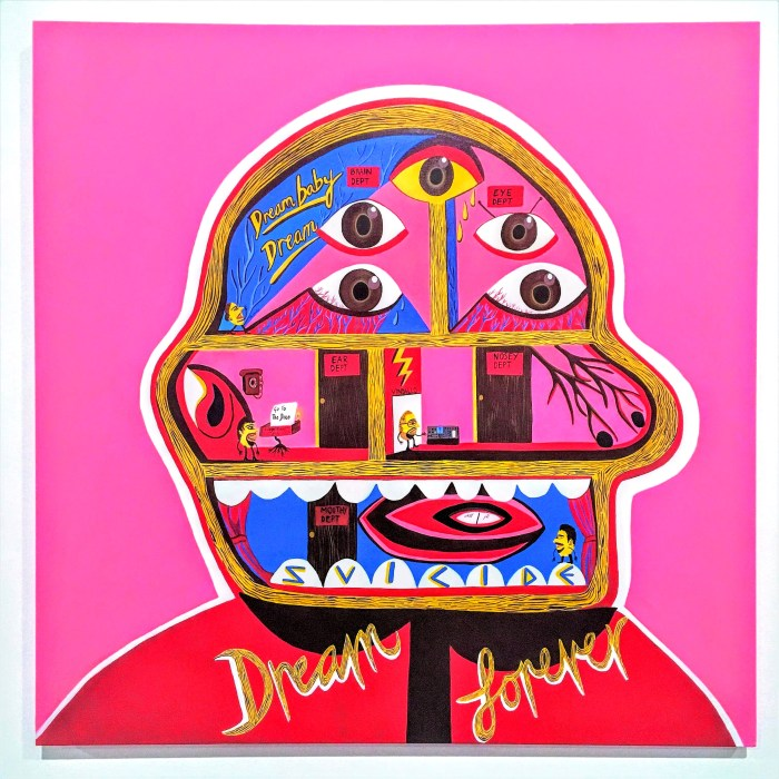 Dream Baby Dream (2016) 1000mm x 1000mm / acrylic on canvas / Photography by Matthew Arthur Williams. A painted profile of the inside of someone's head as though it was rooms in a house painted in a cartoon style against a bright pink background. Each room is occupied by a different person controlling the brain, eyes, nose, ears and mouth. In the brain room the person looks up at the works Dream baby Dream and in the Mouth room the bottom row of teeth spells the name of a band - Suicude. Dream forever is written on the clothing below the head.