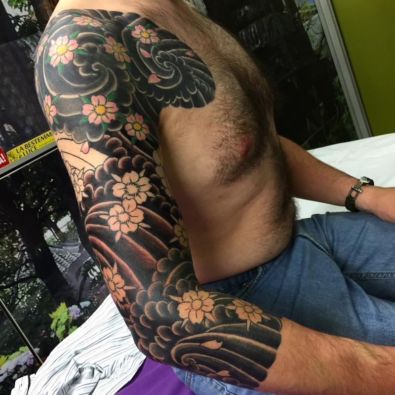 13+ [ Japanese Wave Tattoo ]  Black And Grey Japanese