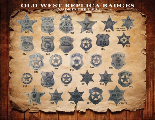 OLD WEST PEWTER POLICE BADGES Made In USA! You Pick Styles