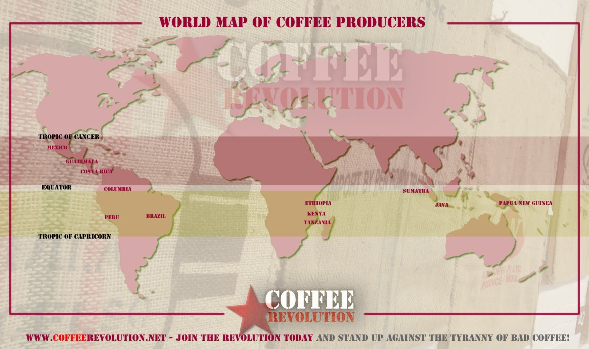 A World Map of Coffee Producers in the Coffee Belt