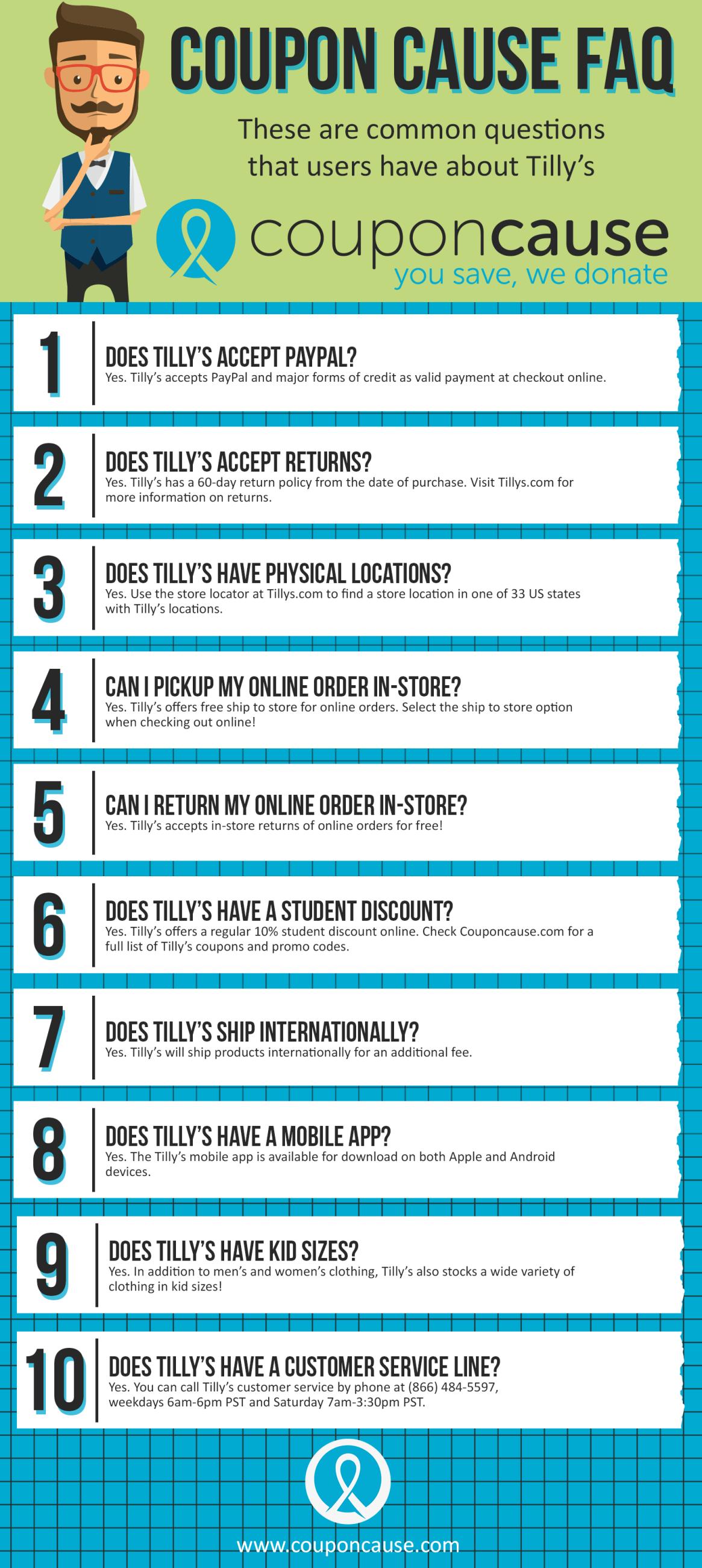 Tillys Coupon Cause FAQ (C.C. FAQ)