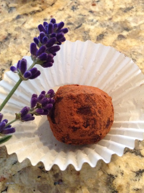 Natural cocoa dusted lavender vanilla truffles show off the special gourmet qualities of this modest herb.