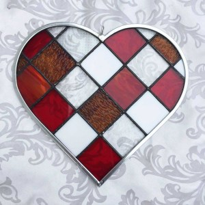 Red Checkerboard Staiend Glass Heart by Gallery's Choice