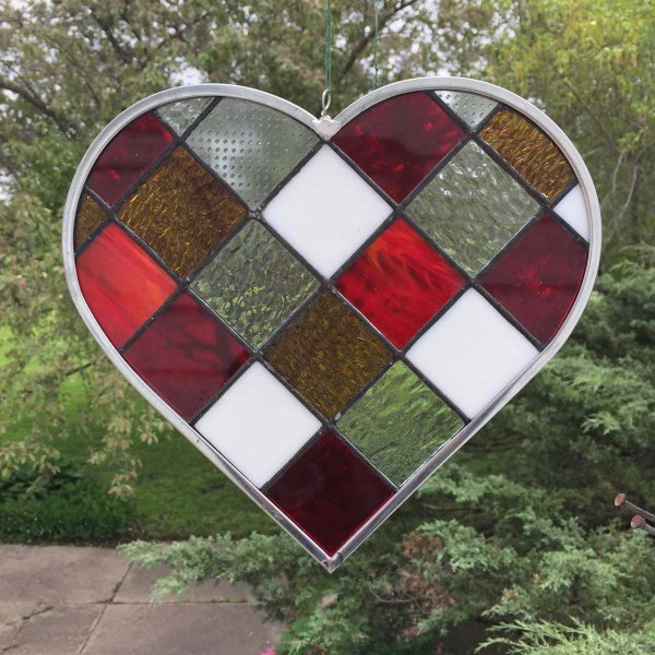 Green Checkerboard Stained Glass Heart outside