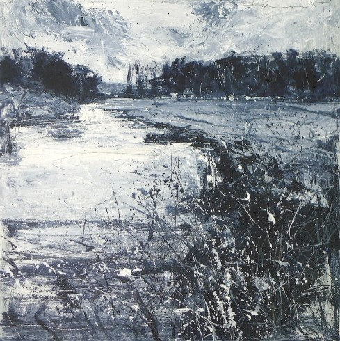 Riverbank erosion and Chatsworth CC having a pre-season friendly: acrylic on paper:50cx50cm:£1200.00