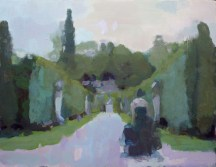 The Avenue leading from the Ring Pond with Sarah, twilight, Chatsworth 35 x45 cm