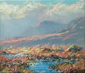 Sunlit Pools, Borrowdale Fells 14x16-2