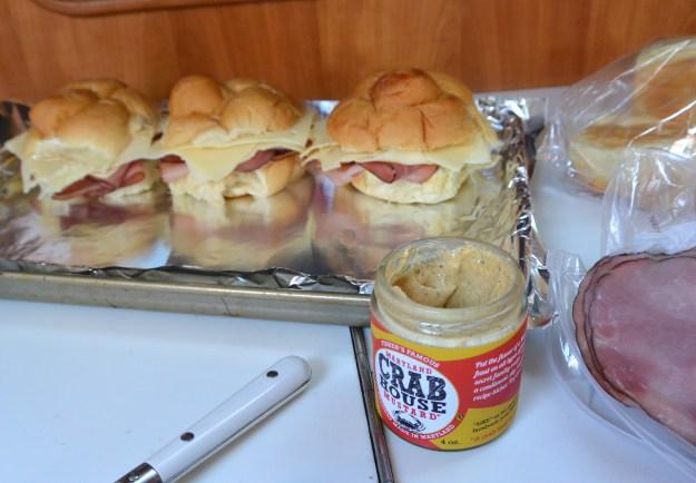 making ham & cheese sandwiches