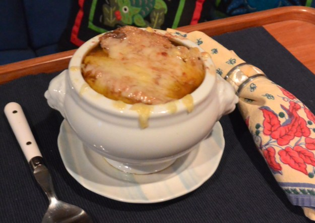 french onion soup served