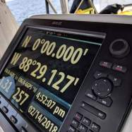 This reading can only be held for a second or two as we slow the boat to drift over the equator and catch this rare image on the GPS.
