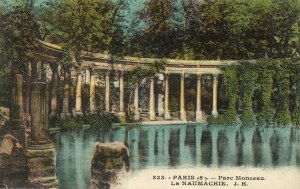 The Parc Monceau colonnade looks much the same today as it does in the old post card I found at a street market stand on a rainy spring day.