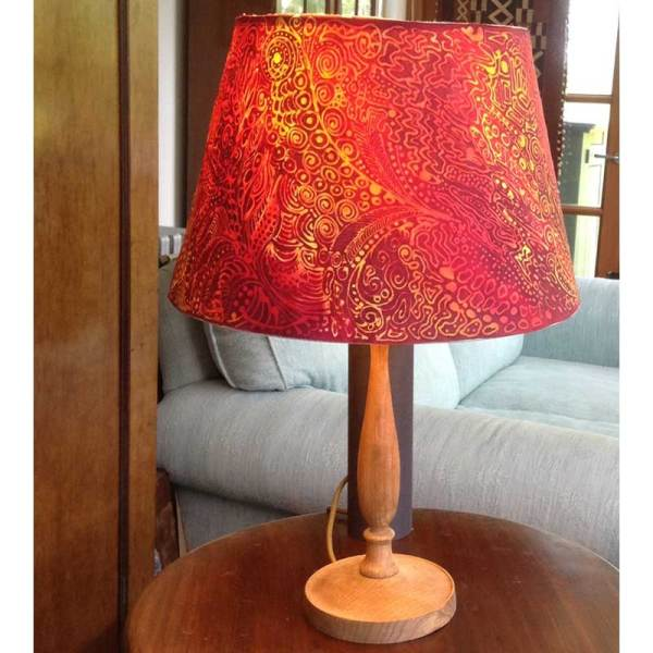 Image of batik lamp with cotton batik shade - from Batik Workshop - Fun with Paper & Fabric featuring Rosi Robinson