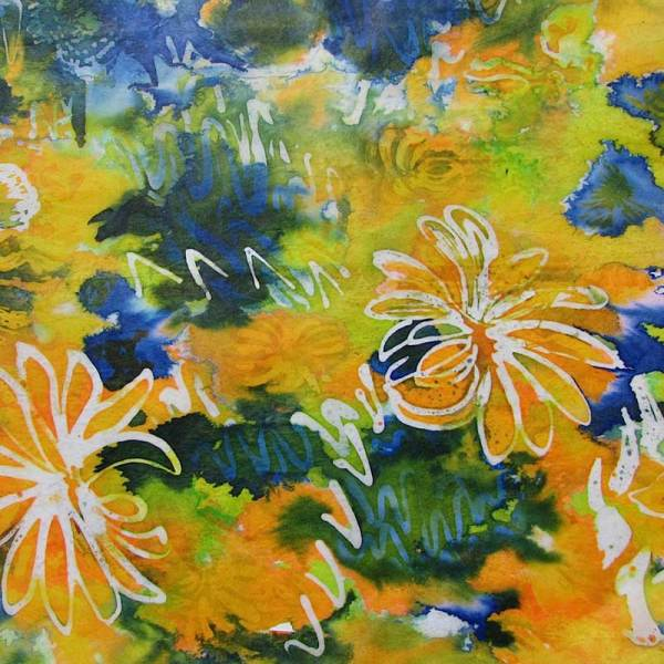 Image of Batik wax resist floral pattern on Paper - from Batik Workshop - Fun with Paper & Fabric featuring Rosi Robinson