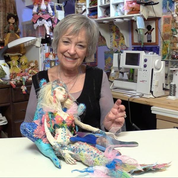 Image of Patti with finished cloth doll — from Cloth Doll Mermaids featuring Patti Medaris Culea