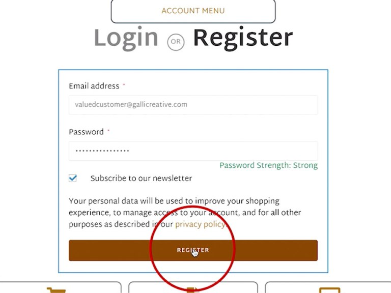 Image of button bar to Register account