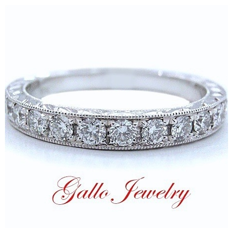 WB00700 Ladies Antique Style Diamond Wedding Band