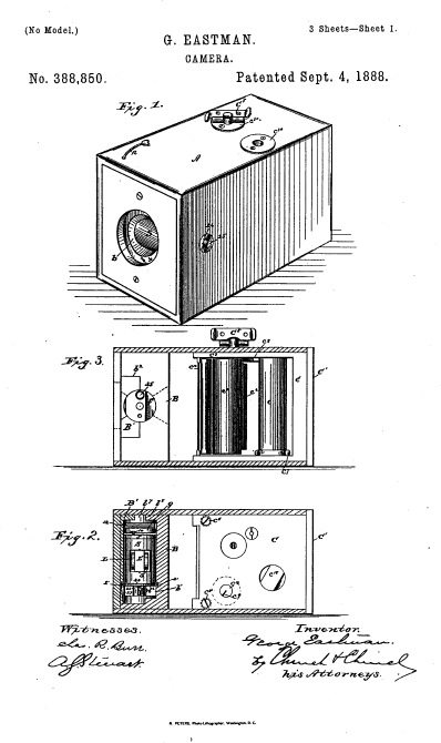 U.S. patent no. 388,850, issued to George Eastman, September 4, 1888.