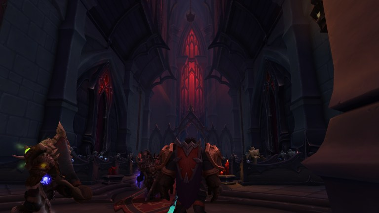 Dungeon group standing in a gothic Revendreth Cathedral