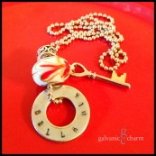 "BELLA MIA - Single hand-stamped washer (bella mia). Stainless steel key charm and red, white and gold-colored heart design glass bead. 24"" stainless steel ball chain. $25 as shown."