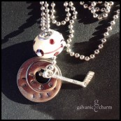 "PUCK - Booster necklace with 2 hand-stamped washers (puck is life), pewter hockey stick charm, and white lampwork bead with taupe accents. 18"" stainless steel ball chain. $30 as shown."
