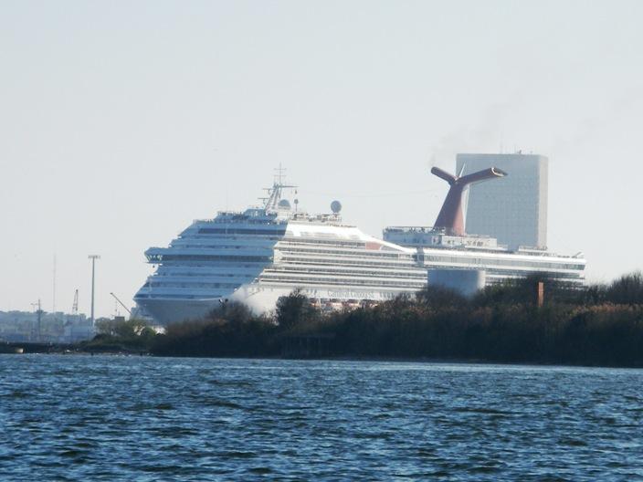 Cruise ship sneaking around the corner