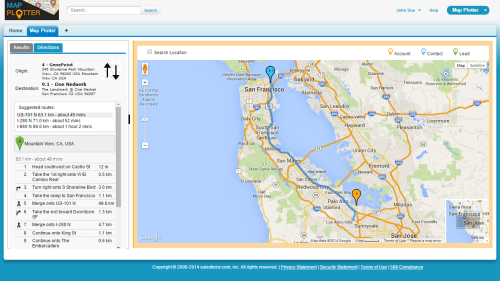 Map Plotter for Salesforce Get Directions