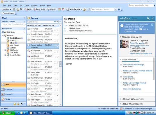 Salesforce for Outlook Side Panel