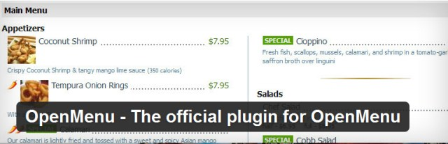 Open Menu wordpress plugin restaurante