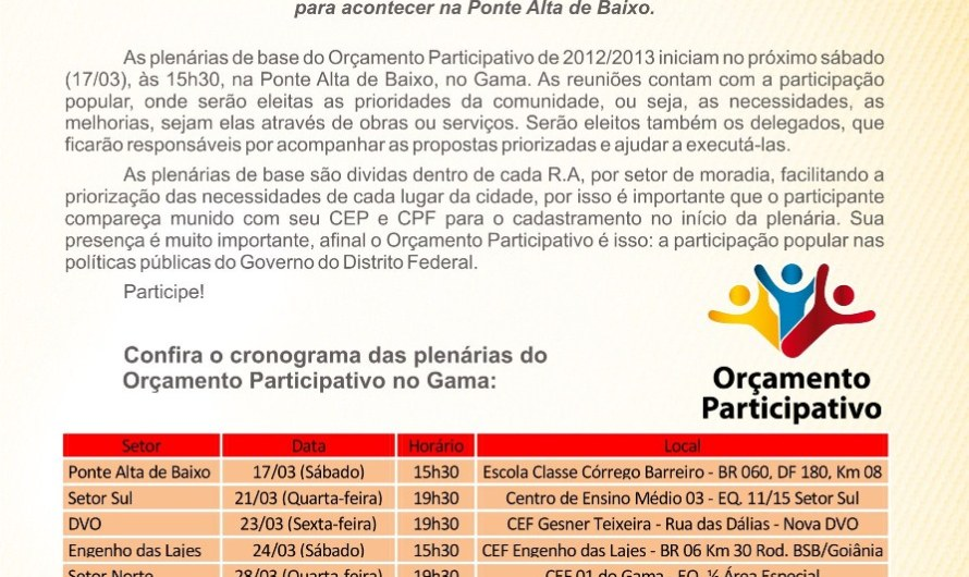Plenárias do Orçamento Participativo iniciam no próximo sábado(17/03)